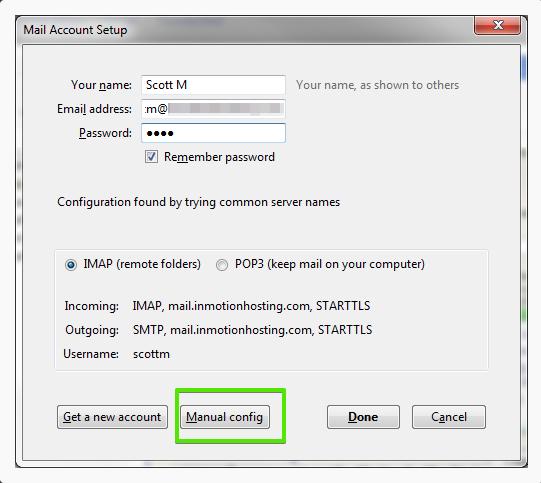 Configuration manuelle - Thunderbird Mail